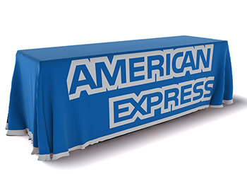 Printed table skirt for American Express